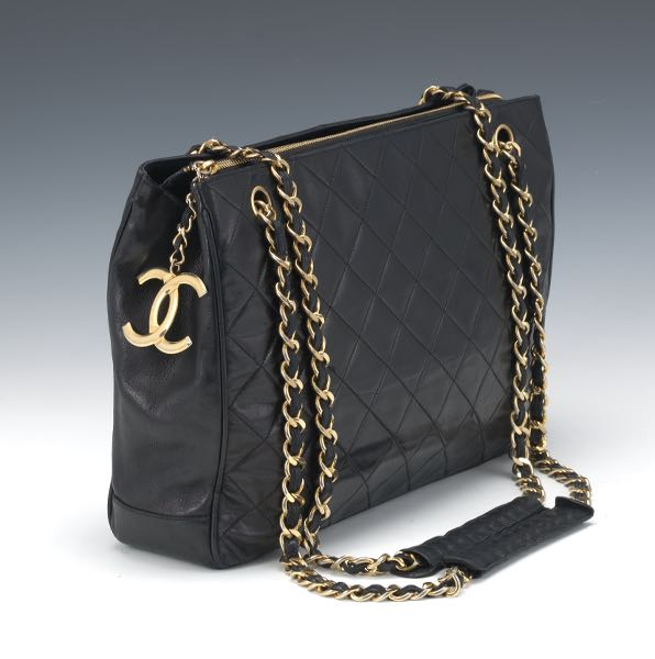 e042173313f1 Chanel Quilted Black Leather Shoulder Bag, ca. 1994