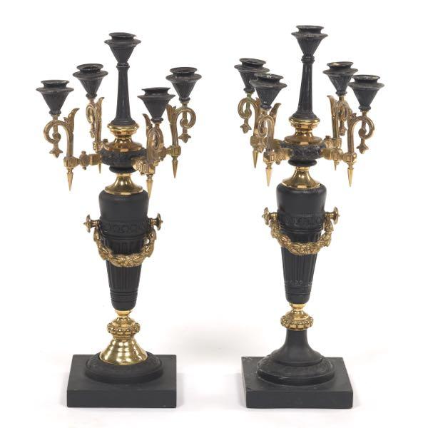 Near Matching Pair Of Light Wood Tall Stem Antique Candlesticks Great Varieties Woodenware