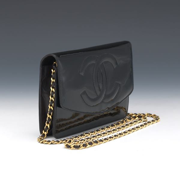4a5e536418c1 Chanel Patent Black Leather Wallet on Chain, 1997