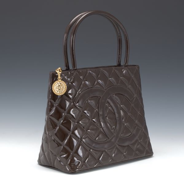 28fde619aef1 Chanel Brown Patent Leather Medalion Tote, 2003