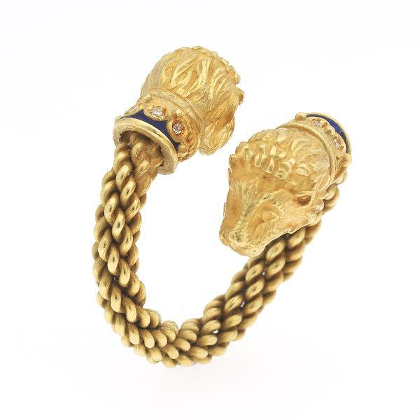 b9e675f572e 772. Renaissance Revival Gold, Diamond and Enamel Lion Head Bypass Ring