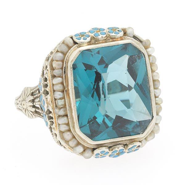 10k Gold Fancy Ring Goldenstar 0.18Ct Blue /& White Diamond Ring