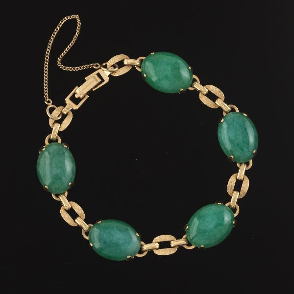 10mm Square Link Silver Tone Bracelet of Natural Malachite 7mm Round Cabochons